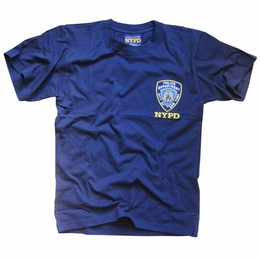 NYPD T-SHIRT NEW YORK CITY POLICE DEPARTMENT EMBROIDERED SHIELD