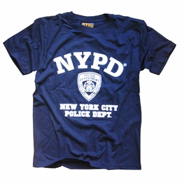 NYPD T-SHIRT NEW YORK CITY POLICE DEPARTMENT SCREEN PRINTED SHIELD
