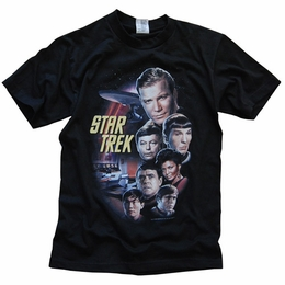 STAR TREK USS ENTERPRISE ORIGINAL SERIES CREW JAMES T KIRK, SPOCK, BONES, UHURA & CHEKOV T-SHIRT