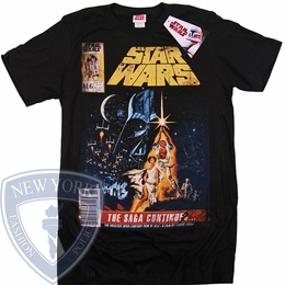 STAR WARS T-SHIRT THE SAGA CONTINUES ORIGINAL TICKET STUB MOVIE POSTER TEE