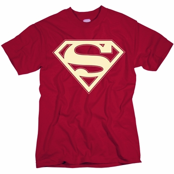 SUPERMAN CRIMSON & CREAM SHIELD MENS T-SHIRT