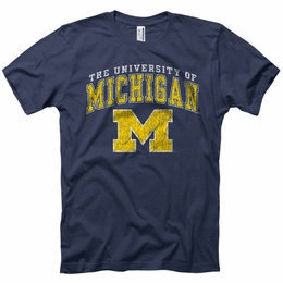 UNIVERSITY OF MICHIGAN WOLVERINES GO BLUE VINTAGE RETRO T-SHIRT