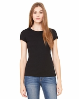 Bella Women's Short Sleeve Sheer Mini Rib Tee - 8701 - 2 Colors - S-2XL