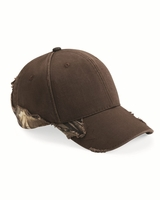 Outdoor Cap - Frayed Cap with Camo (Realtree or Mossy Oak) - BSH350 - 4 Colors