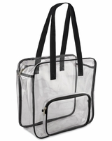 "Valubag - 14.1 L Black Accent Clear Zippered Tote Bag - VB5003 - 12"" x 12""x 4"""