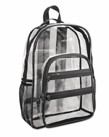 "Valubag - Black Accent Clear Backpack - VB5001 - 16"" x 12"" x 4"""