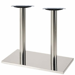 Brushed Stainless Steel 16'' x 28'' x 28.375''H Outdoor Rectangle Table Base [50RE-28-SS-PMI]