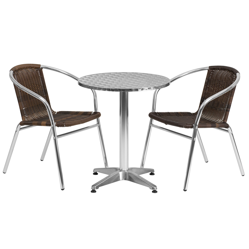 round aluminum indoor outdoor table with 2 dark brown rattan chairs