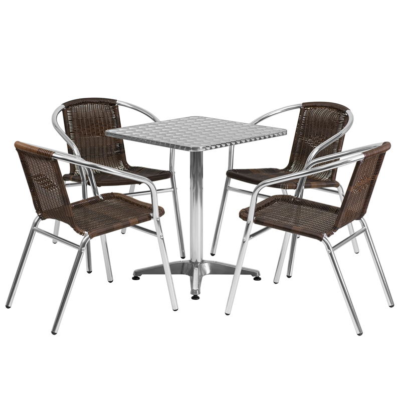aluminum indoor outdoor table set with 4 dark brown rattan chairs
