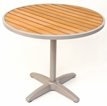 24''D Synthetic Teak Outdoor Table Top with Silver Base [TA-PT-24R-AL-1805-FLS]