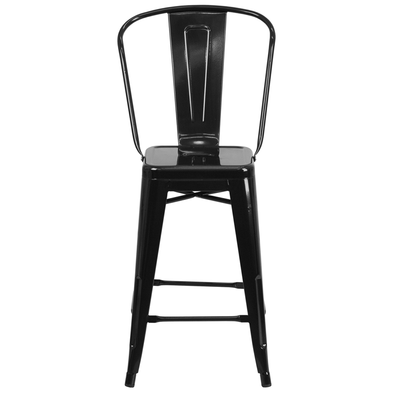 Counter Height Outdoor Stools : 24 High Black Metal Indoor-Outdoor Counter Height Stool with Back ...