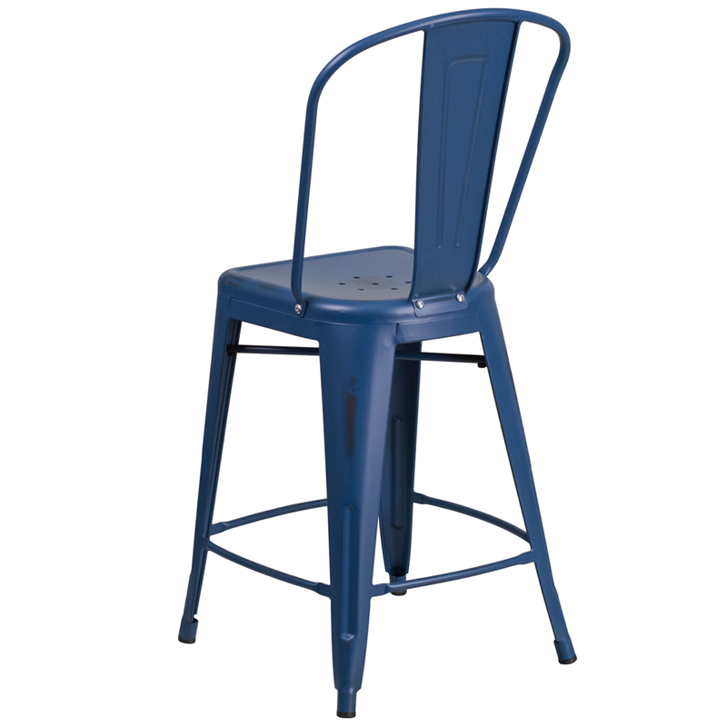 24 High Distressed Antique Blue Metal Indoor Outdoor  : 24 high distressed antique blue metal indoor outdoor counter height stool with back et 3534 24 ab gg 9 from www.restaurantfurniture4less.com size 800 x 800 jpeg 126kB
