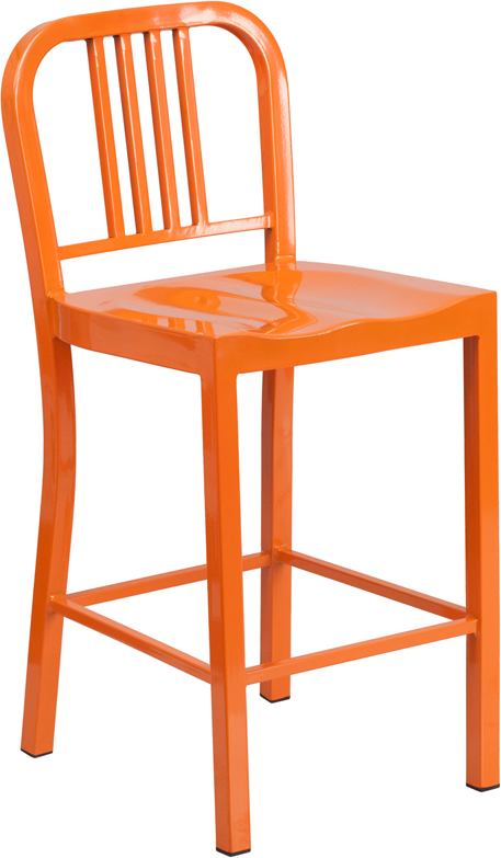 Counter Height Outdoor Stools : ... Orange Metal Indoor-Outdoor Counter Height Stool by Flash Furniture