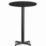 24'' Round Black Laminate Table Top with 22'' x 22'' Bar Height Base [BFDH-24BKRD-2BAR-TDR]