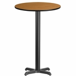 24'' Round Natural Laminate Table Top with 22'' x 22'' Bar Height Base [BFDH-24NATRD-2BAR-TDR]