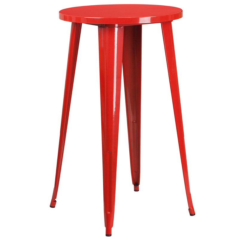 24 Round Red Metal Indoor Outdoor Bar Height Table CH