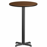 24'' Round Walnut Laminate Table Top with 22'' x 22'' Bar Height Base [BFDH-24WALRD-2BAR-TDR]
