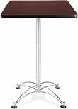 24'' Square Cafe Table - Mahogany with Chrome Base [CCLT24SQ-MHGY-MFO]