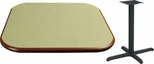 24'' Square Laminate Table Top with Bullnose Vinyl Edge and Base - Bar Height [ATB2424-T2222-BAR-3M-SAT]