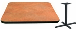 24'' Square Laminate Table Top with Vinyl T-Mold Edge and Base - Bar Height [ATS2424-T2222-BAR-3M-SAT]