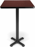 24'' Square Cafe Table - Mahogany Top with X-Style Base [XTC24SQ-MHGY-MFO]