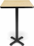 24'' Square Cafe Table - Oak Top with X-Style Base [XTC24SQ-OAK-MFO]