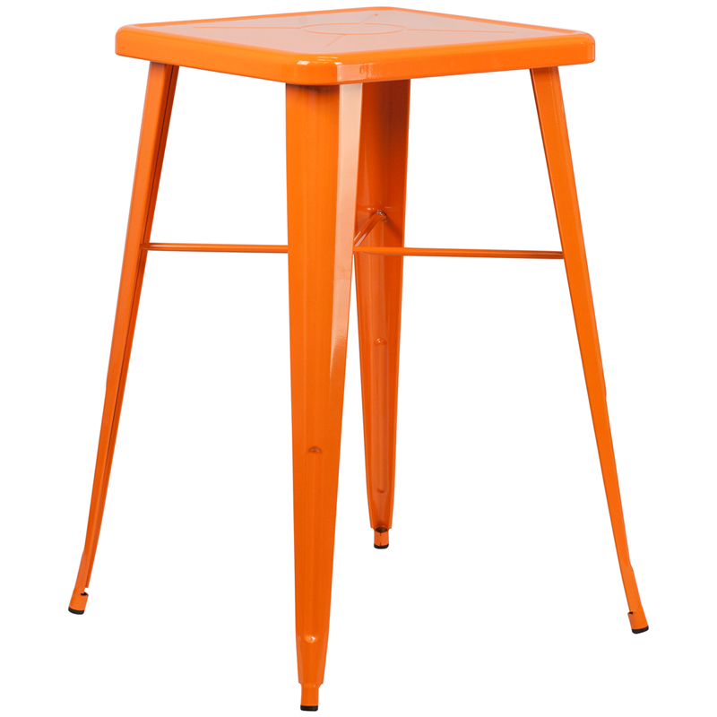Square Orange Metal Indoor Outdoor Bar Height Table CH 31330