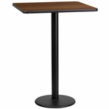 24'' Square Walnut Laminate Table Top with 18'' Round Bar Height Base [BFDH-2424WALSQ-6BAR-TDR]