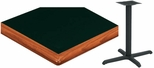 24'' x 42'' Laminate Table Top with Bullnose Wood Edge and Base - Bar Height [ATWB2442-T2430-BAR-3M-SAT]