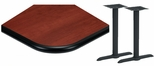 24'' x 48'' Laminate Table Top with Bullnose Vinyl Edge and 2 Bases - Bar Height [ATB2448-T0522-BAR-3M-SAT]