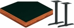 24'' x 48'' Laminate Table Top with Bullnose Wood Edge and 2 Bases - Bar Height [ATWB2448-T0522-BAR-3M-SAT]