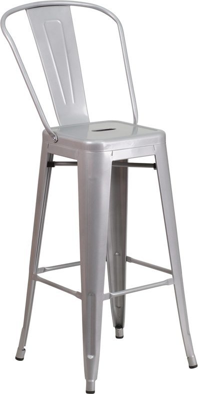 30 High Silver Metal Indoor Outdoor Barstool With Back