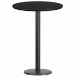 30'' Round Black Laminate Table Top with 18'' Round Bar Height Base [BFDH-30BKRD-6BAR-TDR]