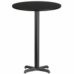 30'' Round Black Laminate Table Top with 22'' x 22'' Bar Height Base [BFDH-30BKRD-2BAR-TDR]