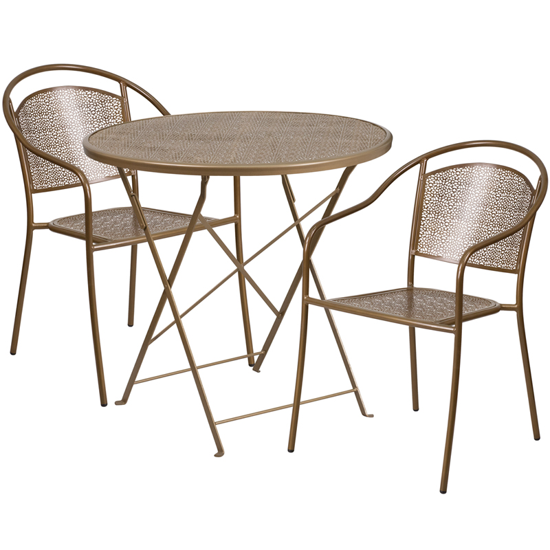 30 Round Gold Indoor Outdoor Steel Folding Patio Table Set with 2 R