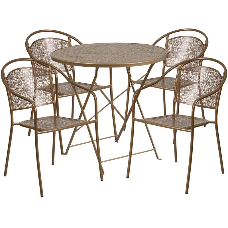 round gold indoor outdoor steel folding patio table set with 4 round
