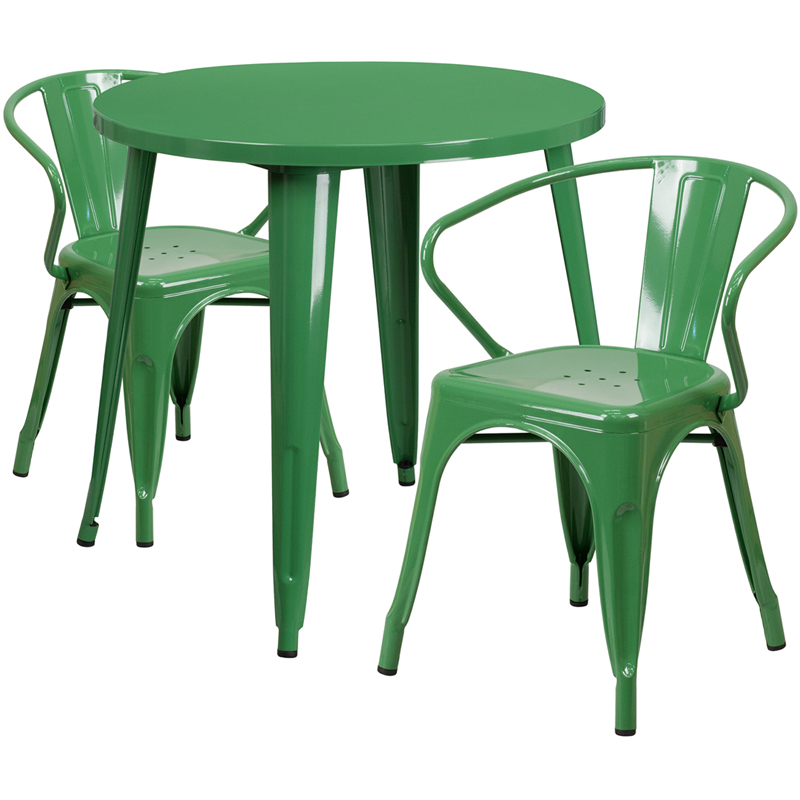 30 39 39 round green metal indoor outdoor table set with 2 arm chairs ch