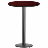 30'' Round Mahogany Laminate Table Top with 18'' Round Bar Height Base [BFDH-30MAHRD-6BAR-TDR]