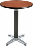 30'' Round Cafe Table with Metal Mesh Base - Cherry [CMT30RD-CHY-FS-MFO]