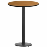 30'' Round Natural Laminate Table Top with 18'' Round Bar Height Base [BFDH-30NATRD-6BAR-TDR]