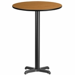 30'' Round Natural Laminate Table Top with 22'' x 22'' Bar Height Base [BFDH-30NATRD-2BAR-TDR]