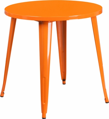 30 Round Orange Metal Indoor Outdoor Table CH 29