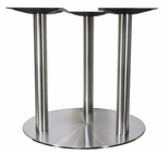 Brushed Stainless Steel 30'' x 28.375''H Tri Leg Outdoor Round Table Base [4030-28-SS-TRI-PMI]