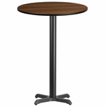 30'' Round Walnut Laminate Table Top with 22'' x 22'' Bar Height Base [BFDH-30WALRD-2BAR-TDR]