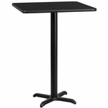 30'' Square Black Laminate Table Top with 22'' x 22'' Bar Height Base [BFDH-3030BKSQ-2BAR-TDR]