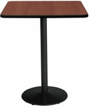 30'' Square Laminate Bistro Height Pedestal Table with Mahogany Top - Black Round Base [T30SQ-B1917-BK-MH-38-IFK]