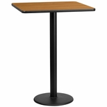 30'' Square Natural Laminate Table Top with 18'' Round Bar Height Base [BFDH-3030NATSQ-6BAR-TDR]