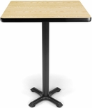 30'' Square Cafe Table - Oak Top with X-Style Base [XTC30SQ-OAK-MFO]