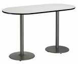 30''W x 72''D RaceTrack Laminate Bistro Height Pedestal Table with Crisp Linen Top - Silver Round Base [T3072R-B1917-SL-CL-38-IFK]