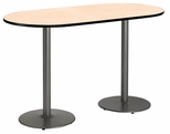 30''W x 72''D RaceTrack Laminate Bistro Height Pedestal Table with Natural Top - Silver Round Base [T3072R-B1917-SL-NA-38-IFK]